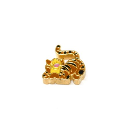DISNEY WINNIE THE POOH TIGGER STAINLESS GOLD PLATED FLOATING NECKLACE CHARM - Disney Magic Band Charms