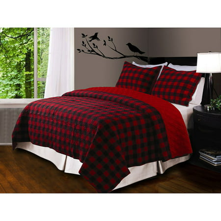 Global Trends Buffalo Plaid Quilt Set, Red/Black - Walmart.com : plaid comforters and quilts - Adamdwight.com