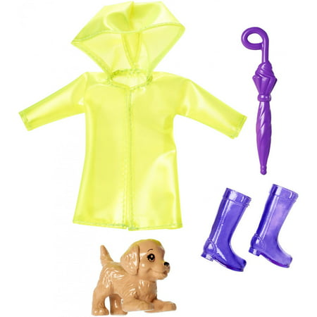 Barbie Club Chelsea Rain Jacket & Accessories Set with Playful Puppy