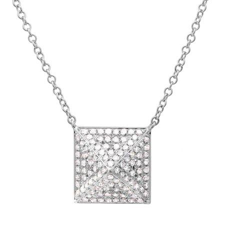 - 0.32ct Unique 3d Square Pendant For Women& Teens 14k White Gold Natural Diamond Chain