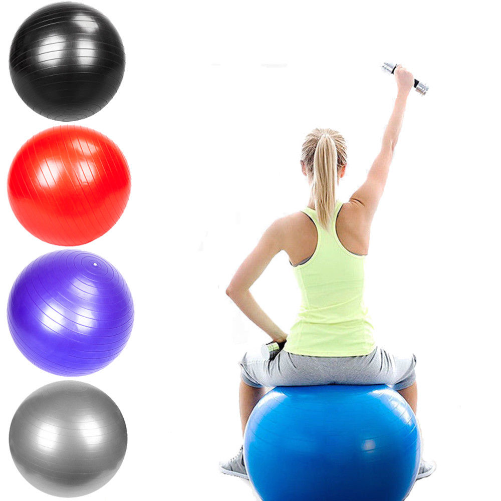 Zimtown 75 cm Yoga Ball with Air Pump, Anti Burst Exercise Balance Ball, for Home Gym Workout Stability Pilates Training