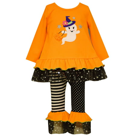 Bonnie Jean Little Girls Orange GHOST Halloween /Black Leggings Set outfit 6X (Halloween Outlets)