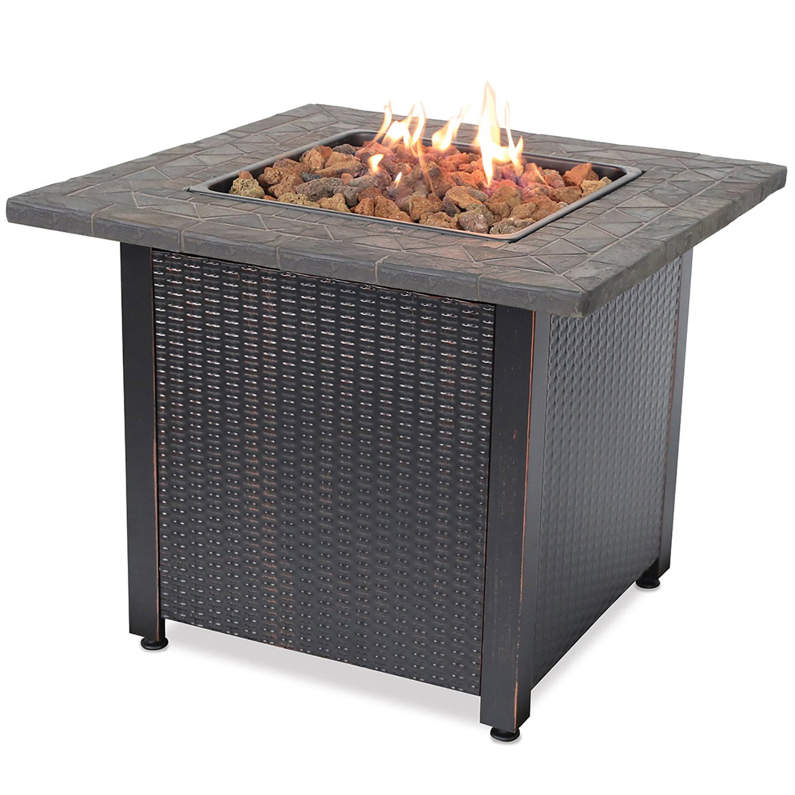 Endless Summer 30 inch Gas Firepit with Lava Rock and Real Slate Mantel by Endless Summer