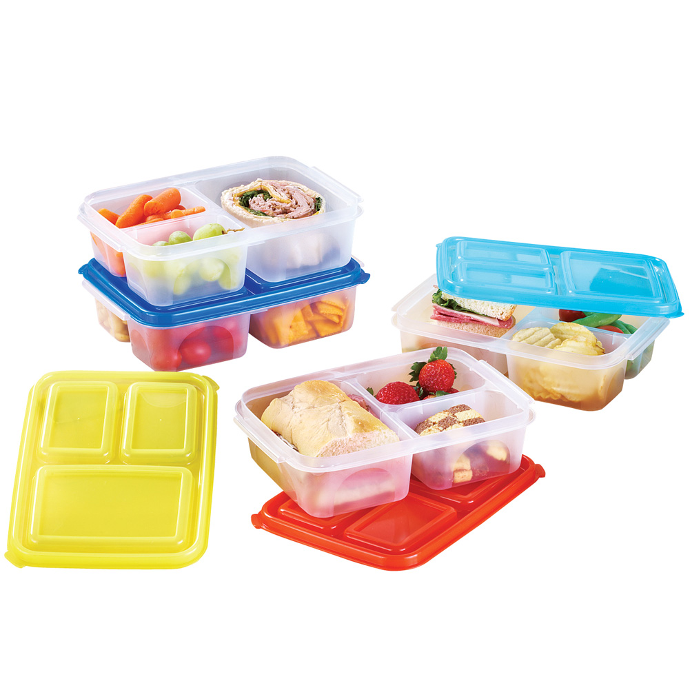 Divided Lunch Containers - Set Of 4, Multi