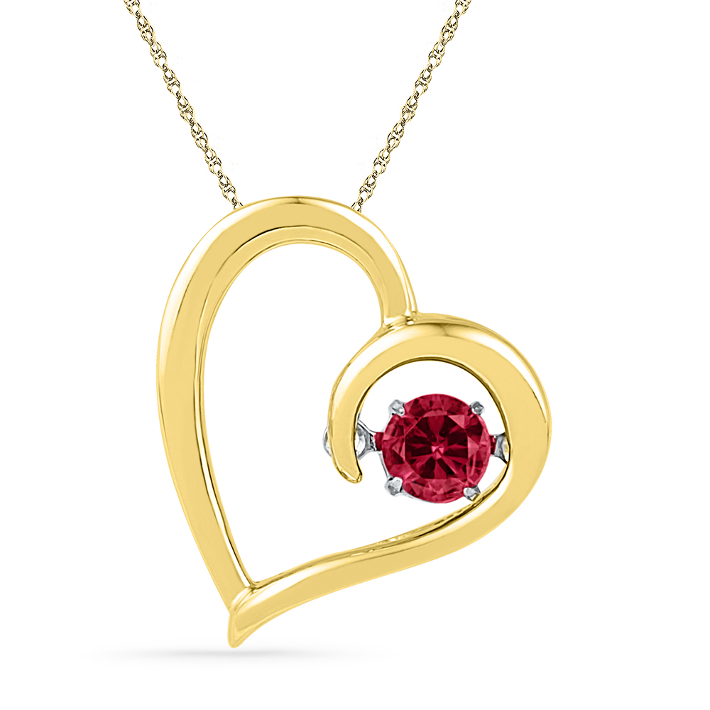 10kt Yellow Gold Lab-Created Ravishing Ruby Lovely Sparkling Heart Necklace Pendant 1 5 Ctw. by Macey Worldwide Jewelry
