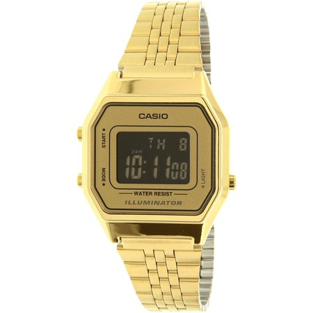 Gold- Tone Digital Retro Ladies' Watch, LA680WGA-9B Day Retro Gold Tone Watch