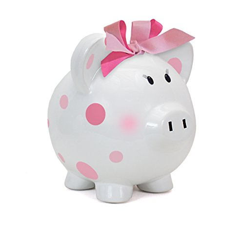 Child to Cherish Large Pig White with Polka Dot Toy Bank,...
