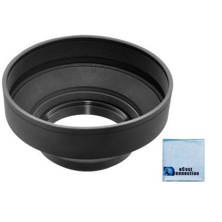 62mm Pro Series Soft Rubber Lens Hood & an eCostConnection Microfiber Cloth