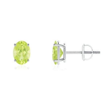 98fd24b8f Angara - Mother's Day Jewelry Sale - Prong-Set Oval Solitaire Peridot Stud  Earrings in 14K White Gold (7x5mm Peridot) - SE1040P-WG-A-7x5 - Walmart.com