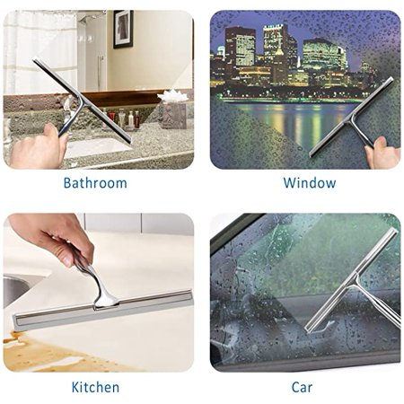 Roofei Shower puller stainless steel shower wiper without drilling with adhesive hook wall hanger, for bathroom mirror window glass cleaning - image 5 of 6