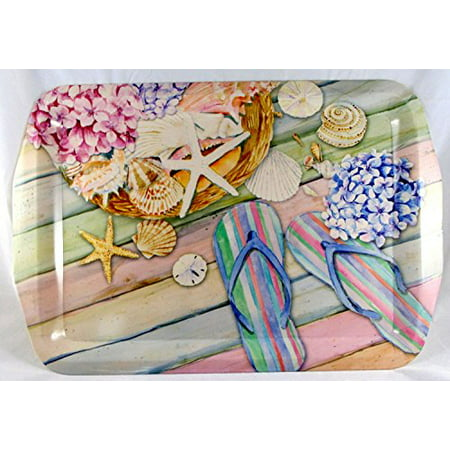 9a00bb7be Summer Flip Flops Flowers   Seashell Designed Melamine Serving Tray -  Walmart.com