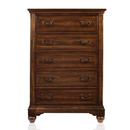 Furniture of America Locklore Antique Dark Oak 5-Drawer Chest