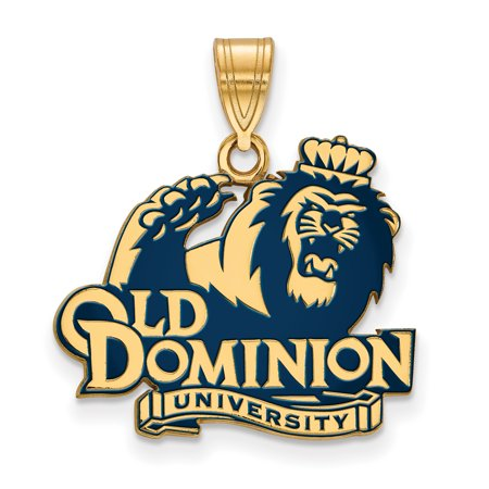 Roy Rose Jewelry Sterling Silver With 14K Yellow Gold Plated Logoart Old Dominion University Large Enameled Pendant