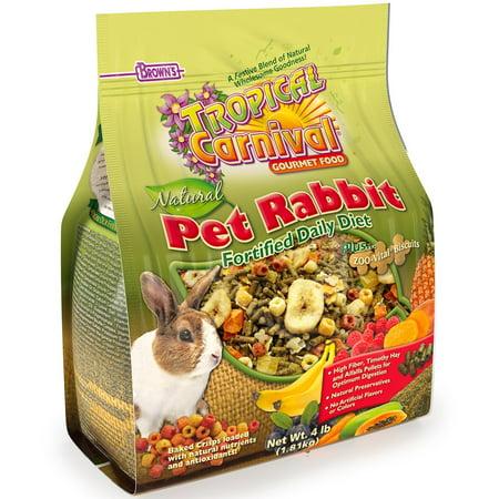 F.M. Brown'S Tropical Carnival Natural Rabbit Food, 4-Lb Bag - Vitamin-Nutrient Fortified Daily Diet With High Fiber Timothy Hay And Alfalfa Pellets For Optimum Digestion (Alfalfa Based Pellet)
