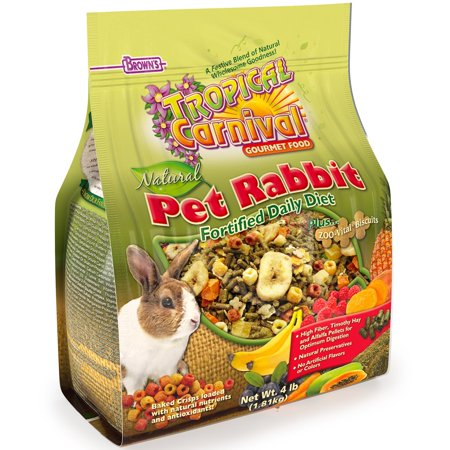 F.M. Brown'S Tropical Carnival Natural Rabbit Food, 4-Lb Bag - Vitamin-Nutrient Fortified Daily Diet With High Fiber Timothy Hay And Alfalfa Pellets For Optimum (50 Lb Bag Of Guinea Pig Food)