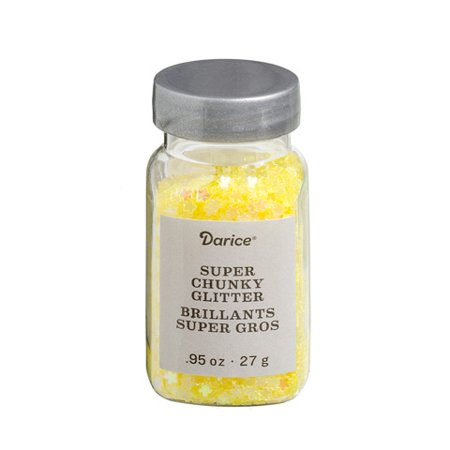 Super Chunky Flower Glitter: Yellow, .95 ounces - Flower Glitter