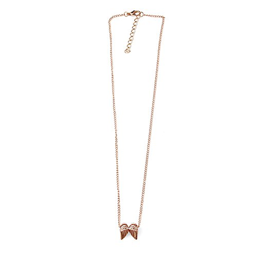 FunnyDay Women Gold Plated Angel Wings Pendant Alloy Clavicle Chain Necklace With Card