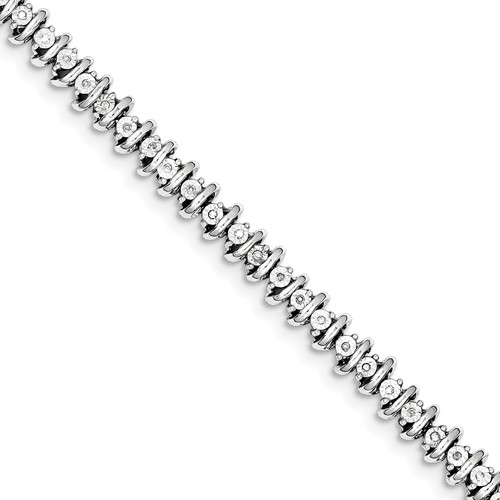 Sterling Silver Diamond Tennis Bracelet. Carat Wt- 0.25ct by Jewelrypot