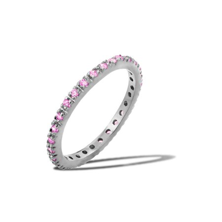 Pink Cubic Zirconia October Birthstone Inlay Eternity Ring Sterling Silver Size 7