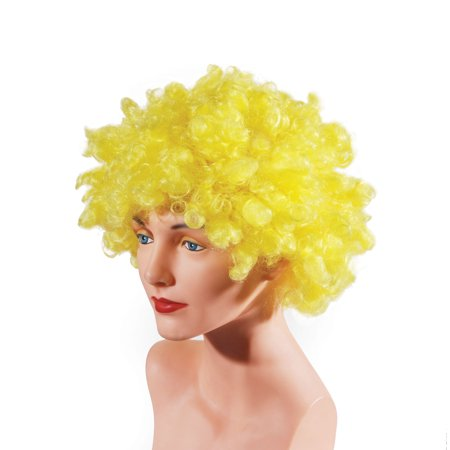 Star Power Curly Fluffy Afro Clown Adult Costume Wig, Yellow, One Size - Rainbow Afro Wig