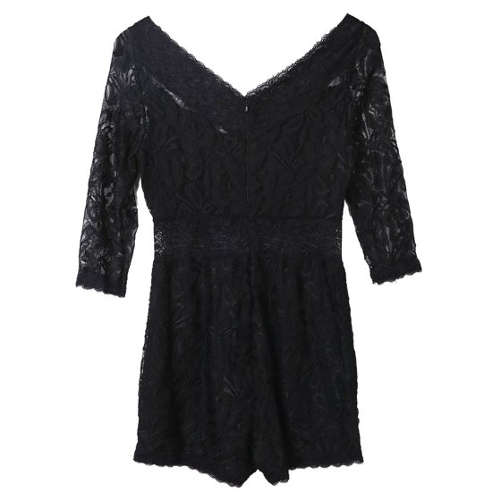 4cb6c6656d22 Meihuida - Black Floral Lace Sexy V-neck Women Shorts Bodycon ...