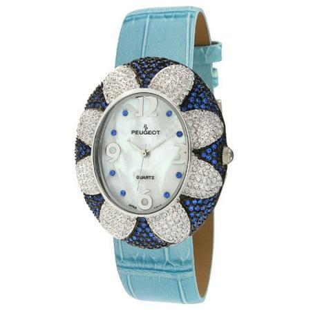 Peugeot Womens J1409bl Blue Swarovski Crystal Oval Case Blue Strap Watch