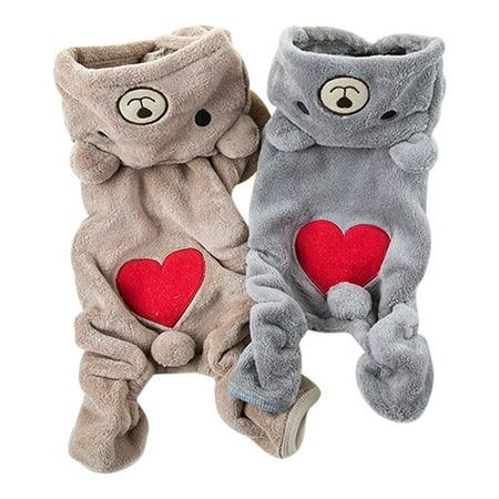 Girl12Queen Pet Puppy Dog Cat Red Love Heart Bear Hoodie Winter Warm Clothes Jumpsuit - Dog Bear Halloween