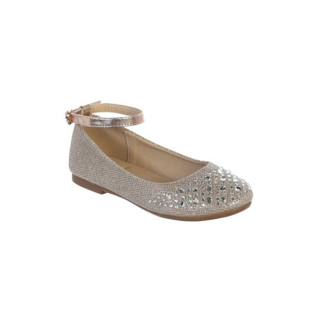 Girls Rose Gold Sparkle Rhinestone Ankle Strap Dress Shoes