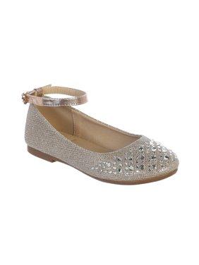 Girls Rose Gold Sparkle Rhinestone Ankle Strap Dress Shoes
