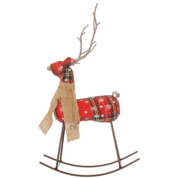 "12.5"" Cabin Plaid Rocking Reindeer Christmas Table Top Decoration"