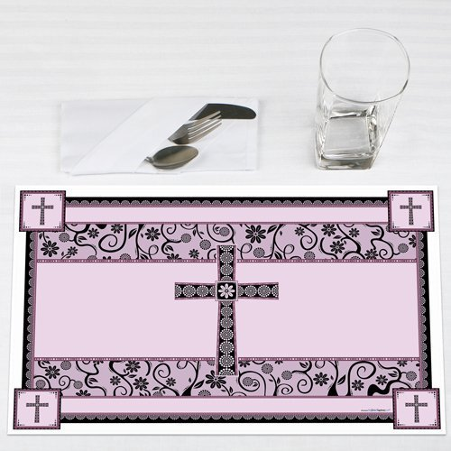 Modern Floral Wild Orchid Cross Baptism Party Placemats Set of 12 by Big Dot of Happiness, LLC