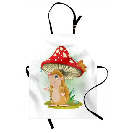 4fbf30925927b Hedgehog Apron Cute Hedgehog Sheltering from the Rain under an Oversized  Mushroom Vivid Colors
