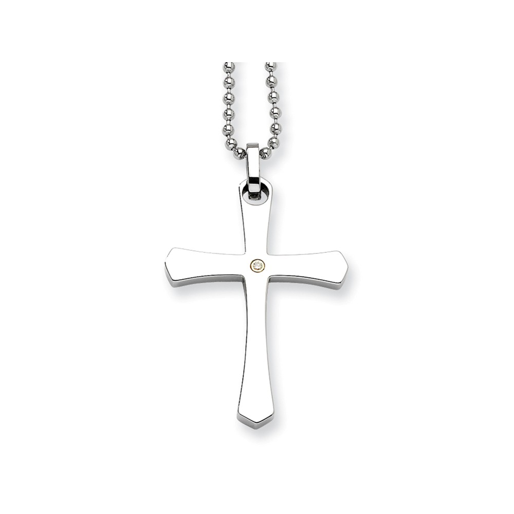 Stainless Steel 14k Gold w/ 2pt Diamond Cross Pendant 22in Necklace.