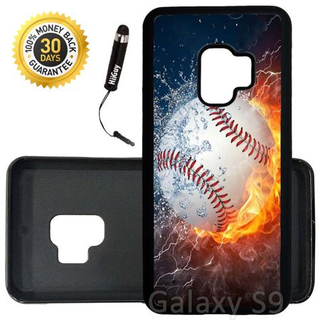 Custom Galaxy S9 Case (Ice and Fire Powerful Baseball) Edge-to-Edge Rubber Black Cover Ultra Slim | Lightweight | Includes Stylus Pen by Innosub