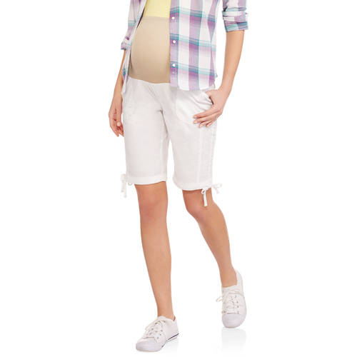 Maternity Overbelly Stretch Poplin Bermuda Shorts Available in Plus Sizes by I.E. Industries Fashsions, Inc