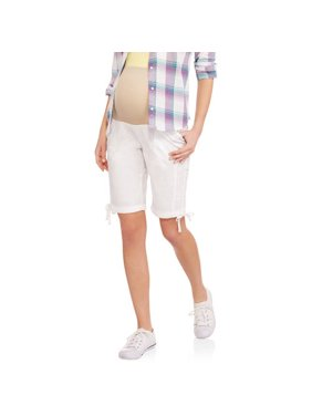 Oh! Mamma Maternity Over Belly Poplin Bermuda Shorts - Available in Plus Sizes