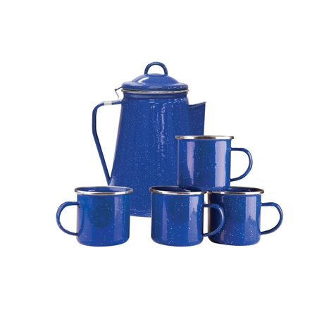 Stansport Enamel 8 Cup Coffee Pot With Percolator and 4 12 Ounce Mugs (Four Coffee Mugs)