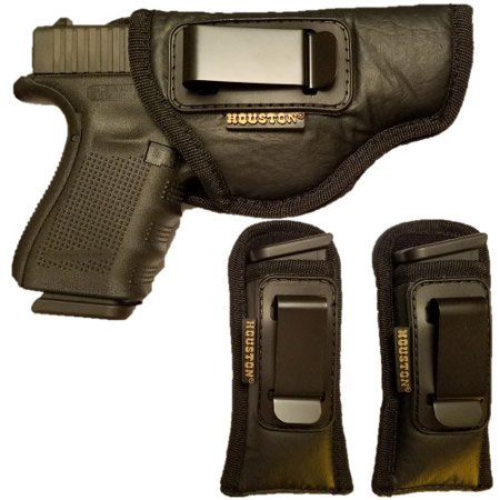 Combo ECO Leather Concealment Gun Holster + 2 Magazine Holster IWB with Metal Clip Fits Glock 19/23 / 32,Walters PK 380 / PPS/CCP, Ruger SR9 C,S&W M&P c,H&K c (Right)