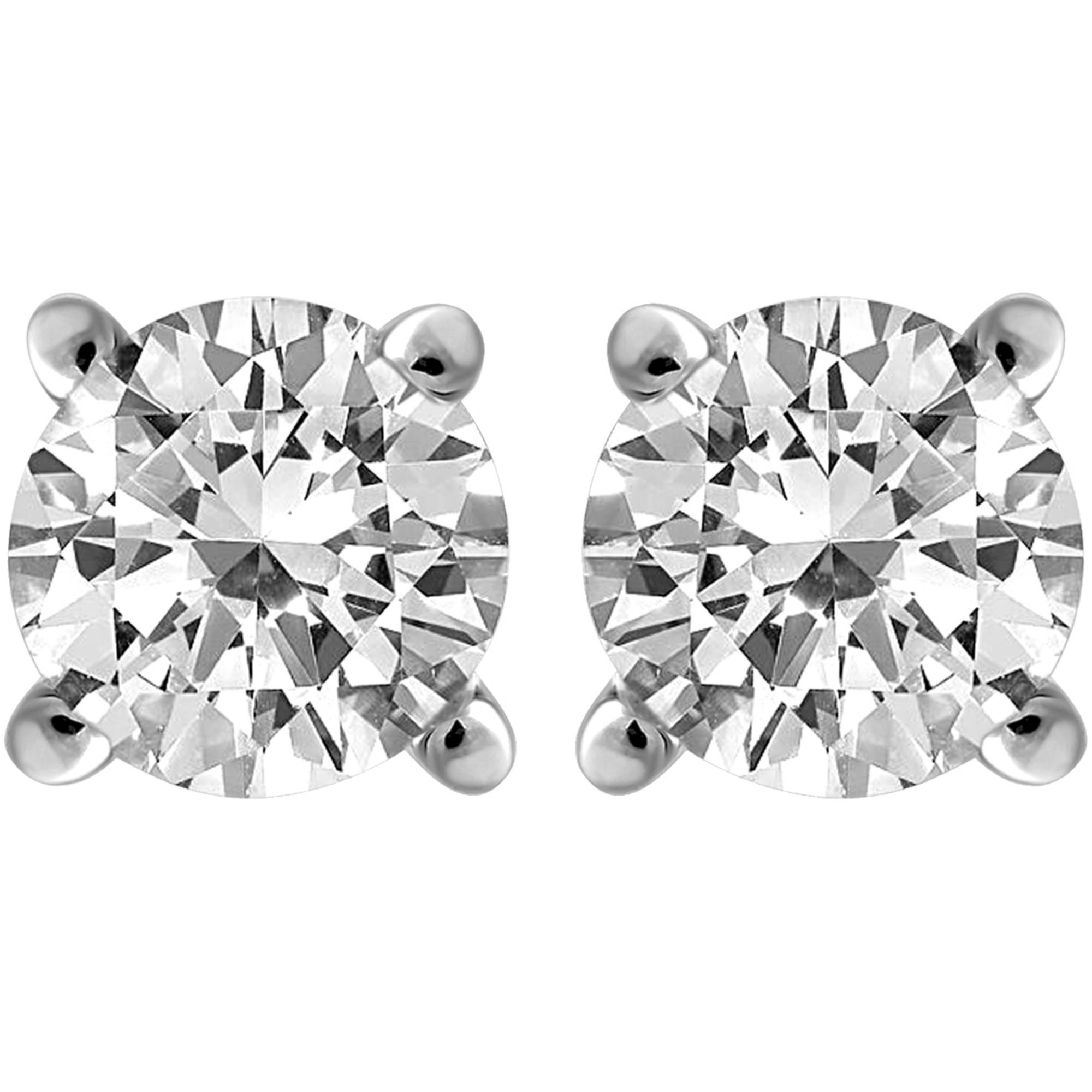 Carina 1/4 Carat T.W. Round Diamond Sterling Silver Stud Earrings