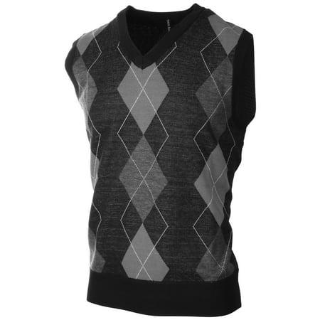 Enimay - Mens Argyle Plain V-Neck Golf Sweater Vest (Many Colors Available)  Argyle Grey  99ebe844c