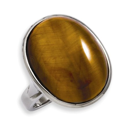 Stainless Steel Tiger's Eye Size 7 Ring Size 7 - Eye Rings