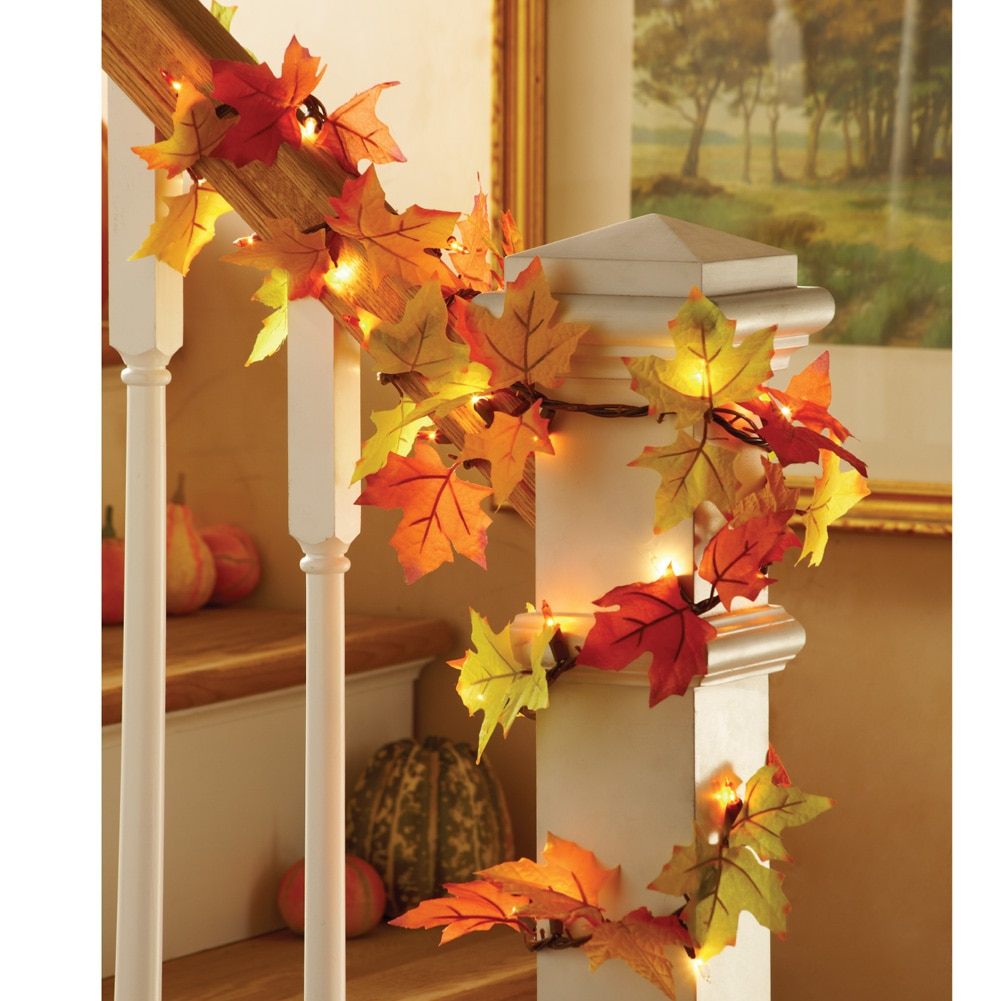 Colorful Lighted Fall Leaves Decorative Garland