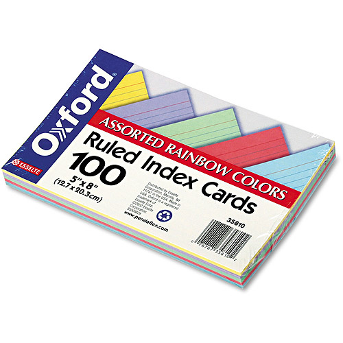 "Oxford Ruled Index Cards, 5"" x 8"", Blue/Violet/Canary/Green/Cherry, 100/Pack"