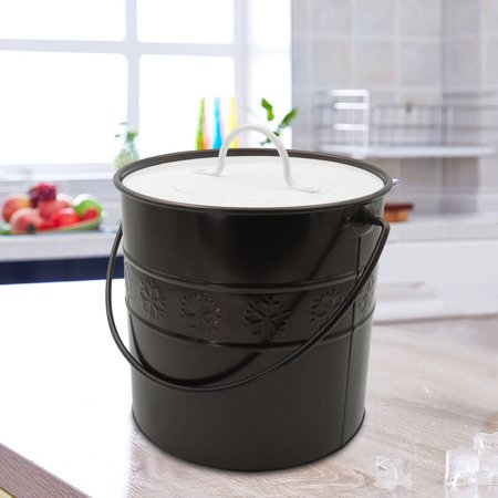 Finether 3 Liter Insulated Double-Wall Ice Bucket Wine Chiller with Lid, Handle and Tong, Galvanized Iron Ice Container for Champagne Beer Parties Events Gathering Wedding Anniversary, Bronze