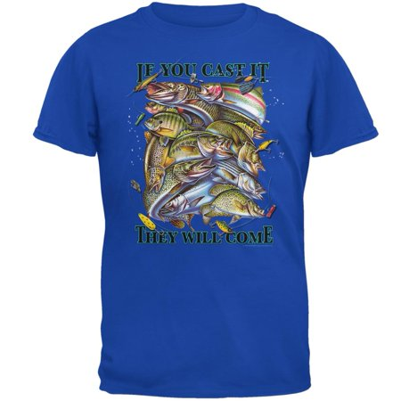 If You Cast It Fishing Mens T Shirt Royal SM
