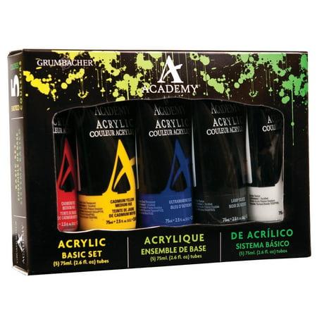 Grumbacher Academy Acrylic Color Set, 5-Colors, Basic