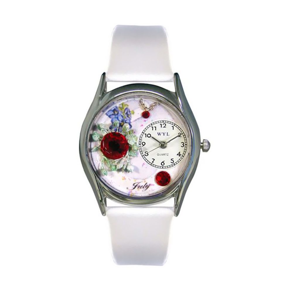 Whimsical Birthstone: July White Leather And Silvertone Watch