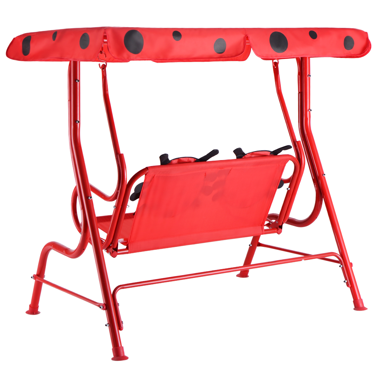 Kids Patio Swing Chair Children Porch Bench Canopy 2 Person Yard Furniture red - image 1 of 10