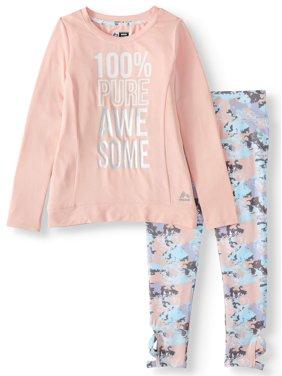 RBX Graphic Long Sleeve T-Shirt and Performance leggingss, 2-Piece Active Set (Little Girls & Big Girls)