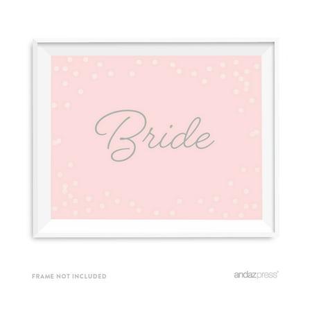 Bride Blush Pink and Gray Pop Fizz Clink Wedding Party Signs - Pop Fizz